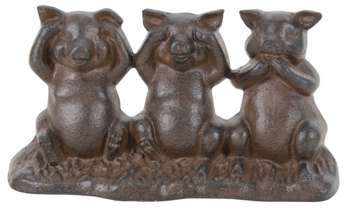 Hear See and Speak No Evil Pigs Tabletop Figurine Cast Iron 7.75 Inches Brown