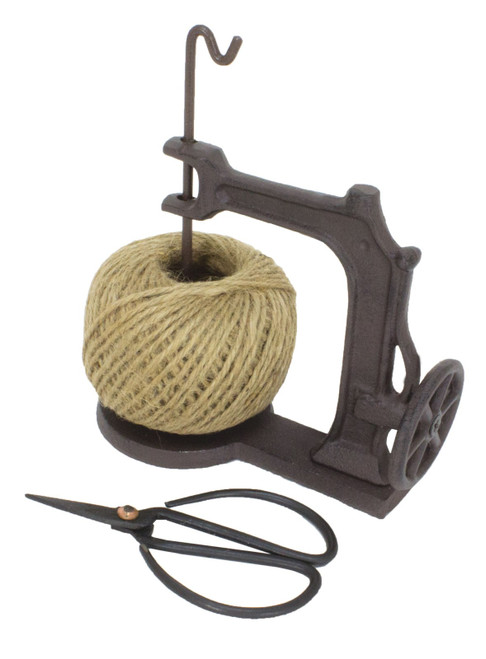Jute Twine String Holder with Scissors Cast Iron Vintage Inspired 6 Inches