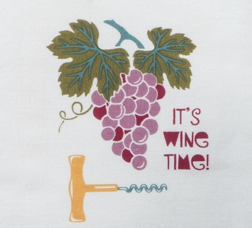 Kay Dee Grapes and Corkscrew Its Wine Time Kitchen Tea Towel