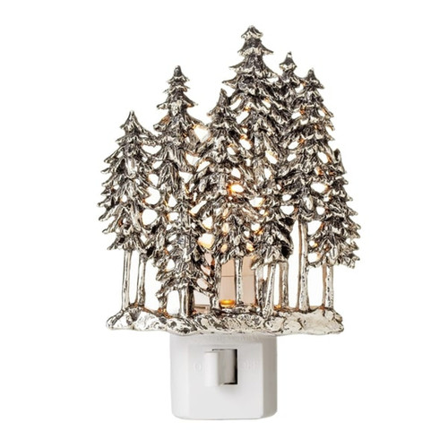 Midwest Silver Woodland Evergreen Trees Night Light 7 Watt Electric Zinc Alloy