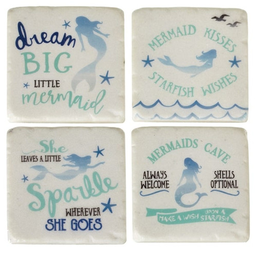 Midwest Mermaid Wishes Dream Big Sparkle Cave Drink Coasters Set of 4 Resin