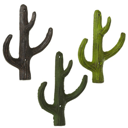 Midwest Cactus Wall Hooks Set of 3 Painted Cast Iron Green and Brown