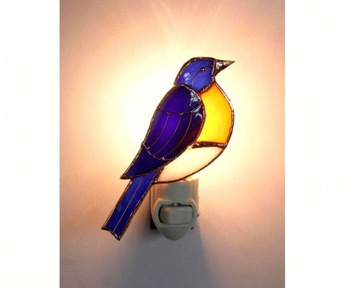 Blue Bird Night Light Electric 7 Watt 4.75 Inches Glass