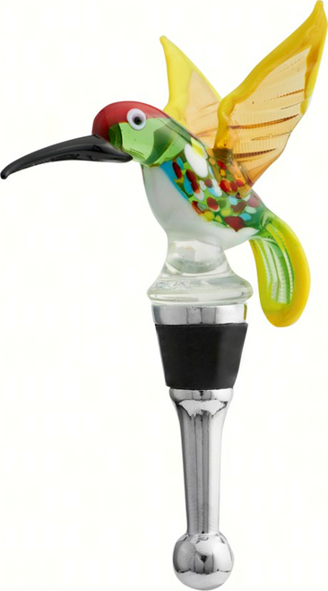 Spring Hummingbird Wine Bottle Topper Glass and Metal 4.25 Inches