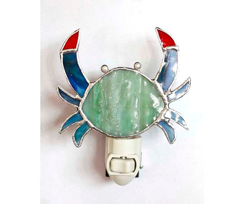 Blue Crab Night Light Electric 7 Watt Glass 5 Inches