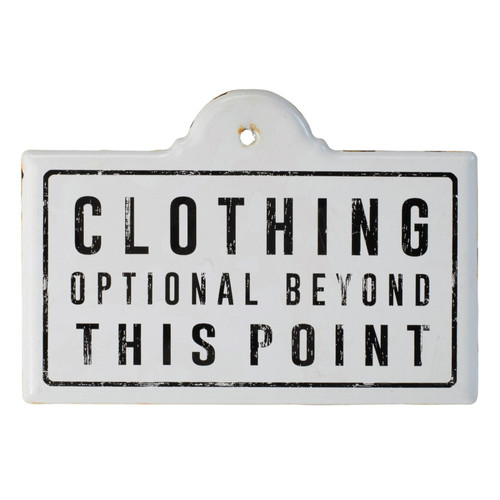 Clothing Optional Beyond This Point Enameled Metal Wall Plaque 10 Inches