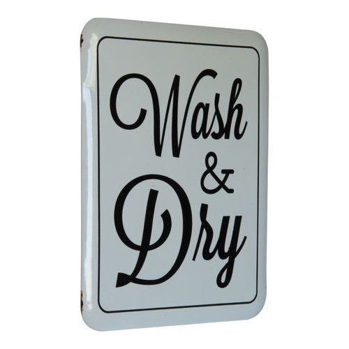 Wash and Dry Laundry Room Enameled Metal Wall Plaque 15.5 Inches