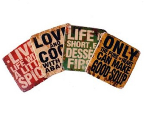 Love Cook Good Soup Dessert First Live Life Drink Coasters Set of 4 Resin