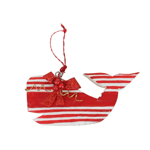 Red and White Whale Christmas Holiday Ornament 3.5 Inches Wood