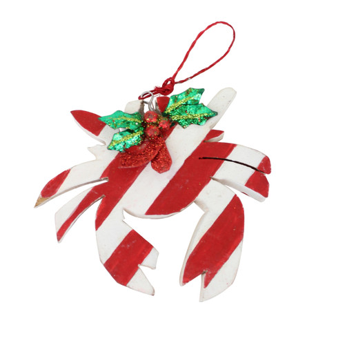 Red and White Stripe Crab Christmas Holiday Ornament Wood 3.5 Inches