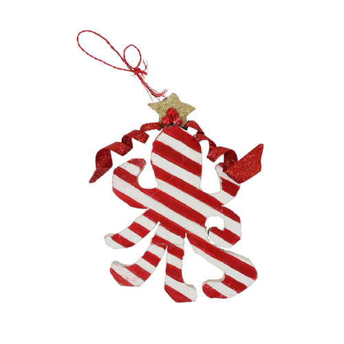 Red and White Octopus Christmas Holiday Ornament 3.5 Inches Wood