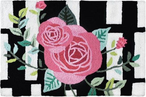 Jellybean Pink Roses on Stripes 33 X 21 Inches Accent Throw Rug Washable