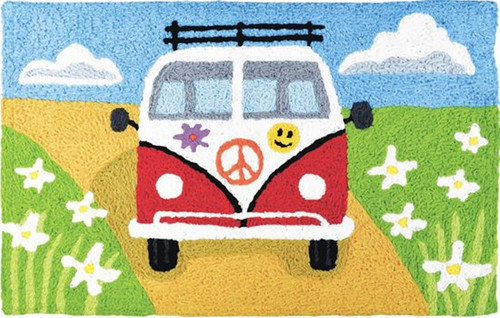 Jellybean Touring Peace Van 30 X 20 Inches Accent Throw Rug Washable