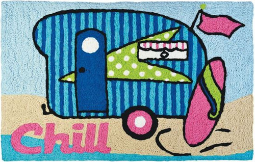 Jellybean Surfer Girl Beach Camper 33 X 21 Inches Accent Throw Rug Washable