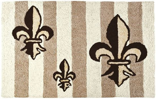 Jellybean Fleur de lis 33 X 21 Inches Accent Throw Rug Tan and Black Washable
