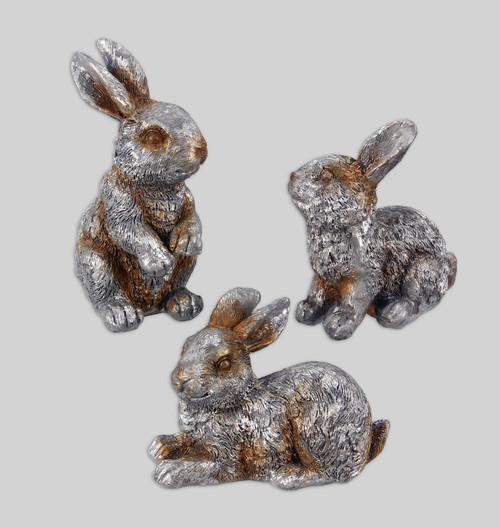 Pewter Finish Bunny Rabbits Tabletop Figurines Set of 3 Resin