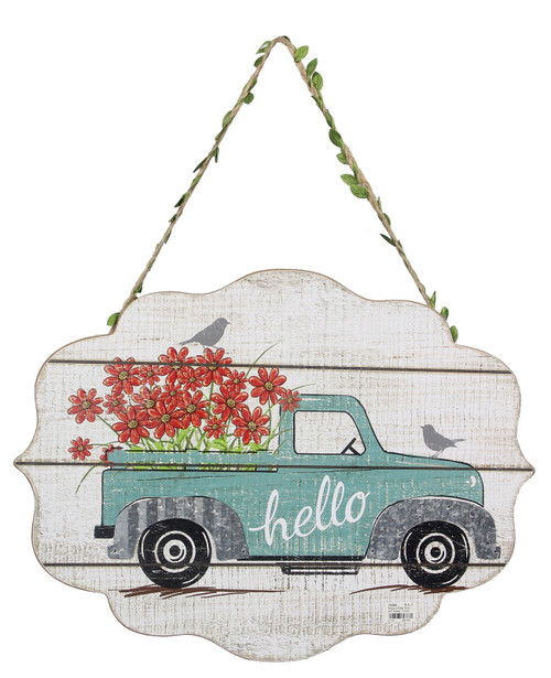 Hello Blue Pickup Truck Filled with Flowers Wall Sign Wood Plaque 15.75 Inches