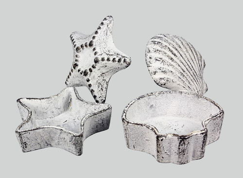 Starfish and Scallop Shell Garden Key Holders Set of 2 Cast Iron