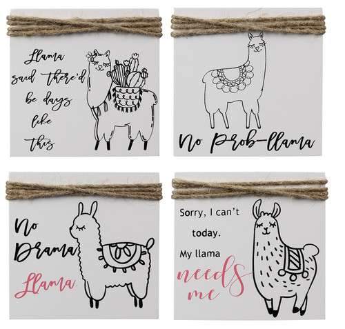No Llama Needs Me No Drama No Probllama Days Like This Box Signs Set of 4 Wood
