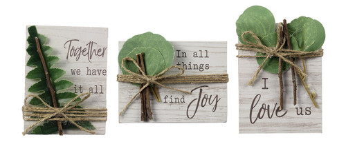 Together We Have It All Find Joy I Love Us Block Signs Set of 3 Wood 4 Inches