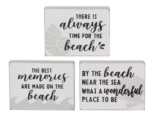 Beach Best Memories Wonderful Place Always Time Block Signs Set of 3 Wood 4 Inch