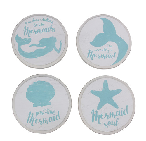 Blue and White Mermaid Drink Coasters Set of 4 Wood 4 Inches