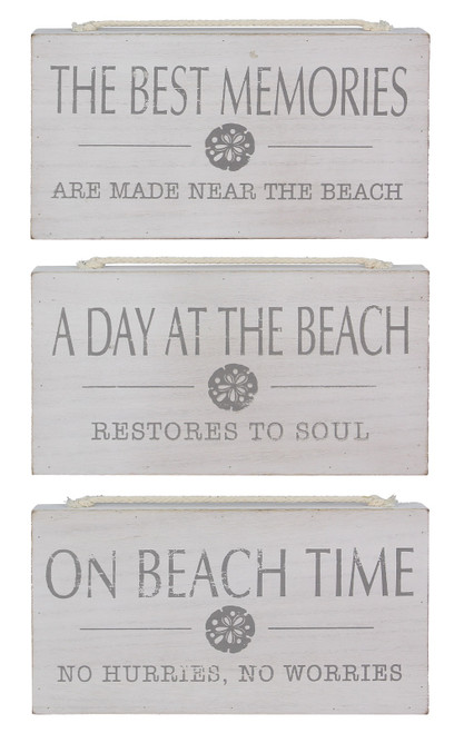 Best Memories On Beach Time Day at Beach Signs Set of 3 Wood 10.25 Inches
