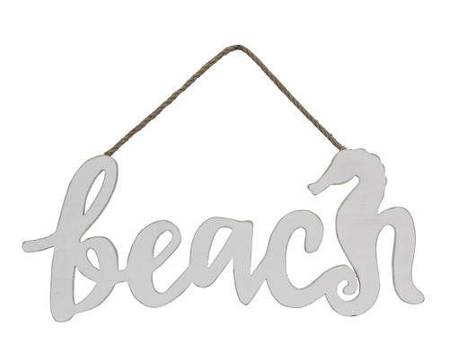 Beach and Seahorse Cut Out Wall Hanging Sign Wood 16 Inches