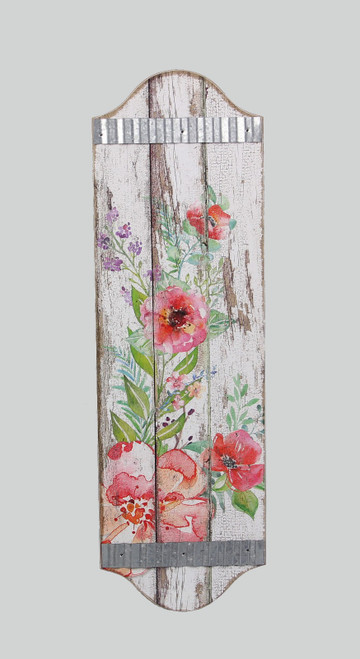 Spring Floral Bouquet Wall Sign Wood and Metal 18.75 Inches