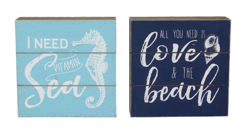 Need Vitamin Sea All You Need is Love Beach Box Signs Set of 2 Wood 5.75 Inch