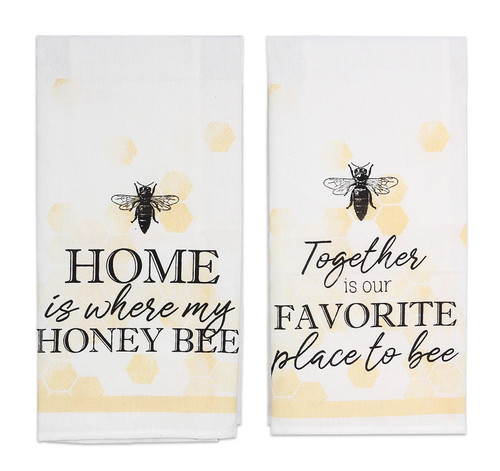Together is Favorite Place Home is Where my Honey Bee Kitchen Tea Towel Set of 2
