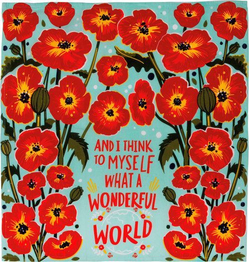 What A Wonderful World Red Poppy Flowers Kitchen Dish Towel Cotton