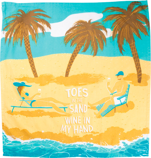 Toes In The Sand Wine in My Hand Kitchen Dish Towel Cotton
