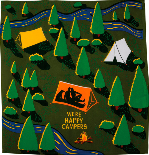 We're Happy Campers Pitch a Tent Kitchen Dish Towel Cotton