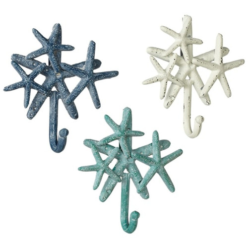 Starfish Cluster Single Wall Hooks Set of 3 Cast Iron Blue White Teal