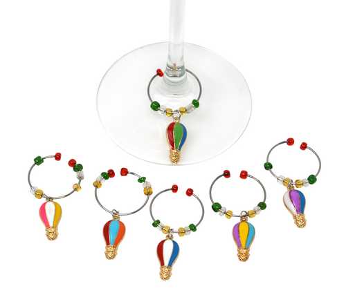 Hot Air Balloons Enameled Wine Charms Set of 6
