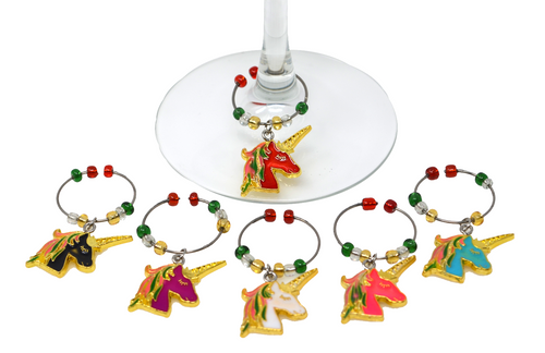 Mythical Unicorns Enameled Wine Charms Set of 6