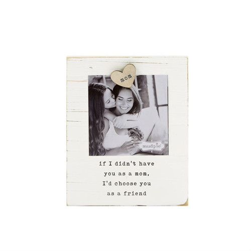 Mud Pie Mom Magnetic Photo Frame Wood and Metal 4X4 Inch Photo
