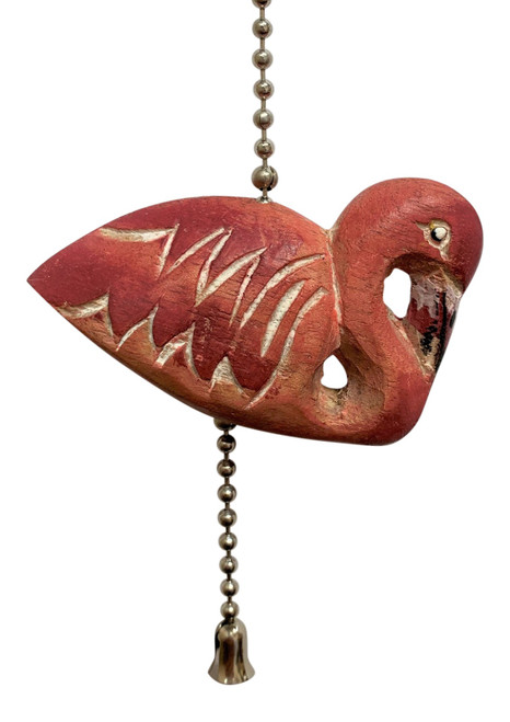 Pink Flamingo Ceiling Fan Pull Painted Carved Wood