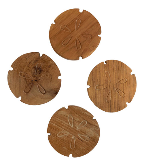 Sand Dollar Drink Coasters Set of 4 Teak Wood Natural Finish