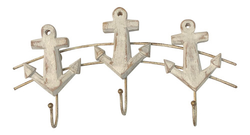 Ships Anchors Carved Wood Triple Single Hooks Painted Whitewash Finish 11 Inches