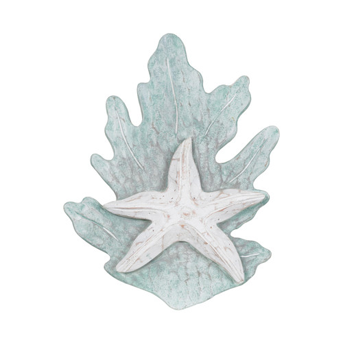 Coral Reef and Starfish Wall Hanging Seafoam Green Painted Wood 10 Inches