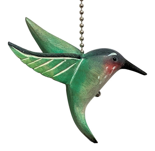 Green Hummingbird Ceiling Fan Pull Three Dimensional Painted Wood 4 Inches
