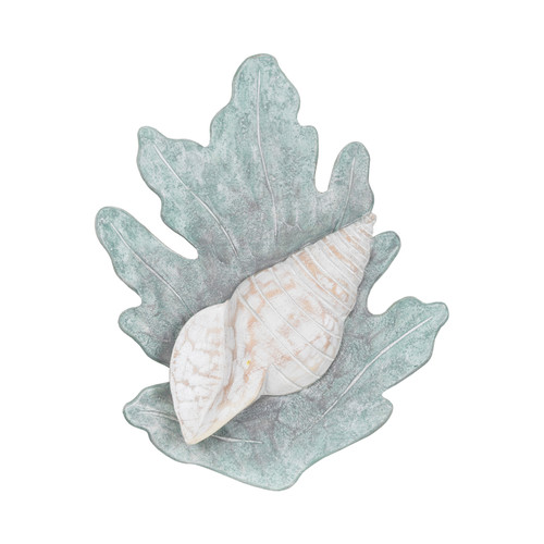Coral Reef and Turban Shell Wall Hanging Seafoom Green Painted Wood 10 Inches