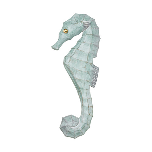 Seahorse Wall Plaque Carved Wood Faces Left Seafoam Green 14.5 Inches