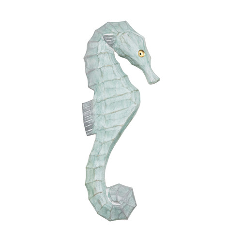 Seahorse Wall Plaque Carved Wood Faces Right Seafoam Green 14.5 Inches