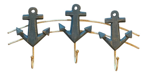 Ship Anchors Triple Single Wall Hooks Wood Painted Blue 11 Inches