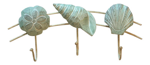 Scallop Turban Sand Dollar Shells Seafoam Green Triple Wall Hooks 11 Inches