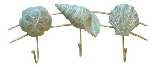 Scallop Turban Sand Dollar Shells Seafoam Green Triple Wall Hooks 11 Inches