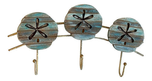 Sand Dollars Triple Wall Hooks Painted Slatted Wood 11 Inches